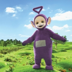 Tinky Winky says bye-bye to Jerry Falwell
