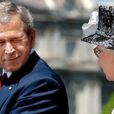 Blundering Bush winks at Queen