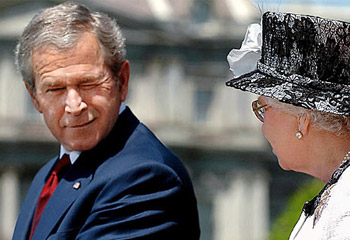 Blundering Bush winks at Queen