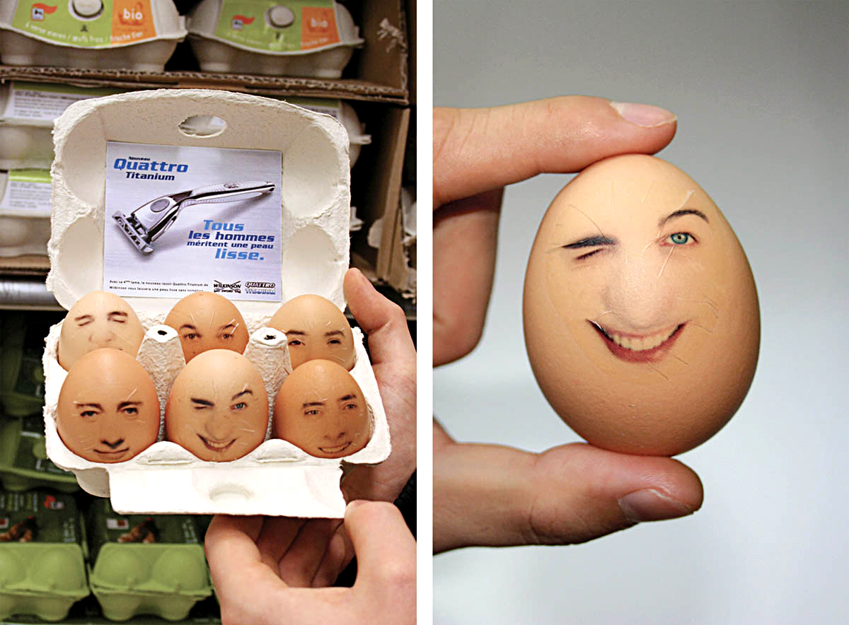 French Wilkinson razor advertised in packaged eggs