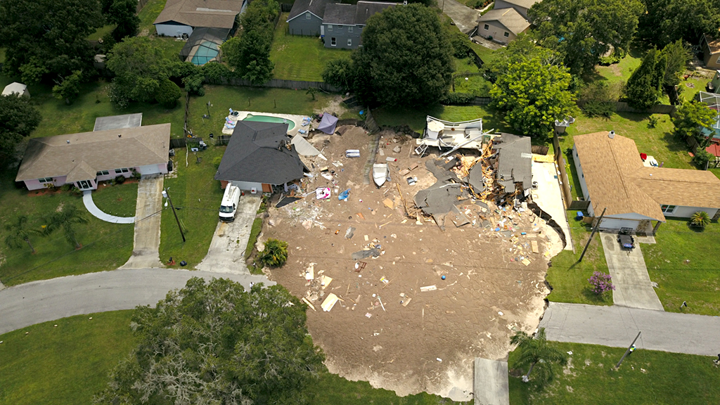Hungry sinkhole swallows family