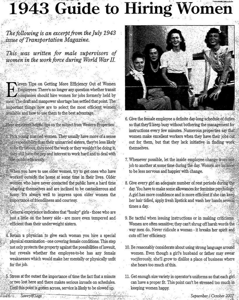 1943 Guide to Hiring Women