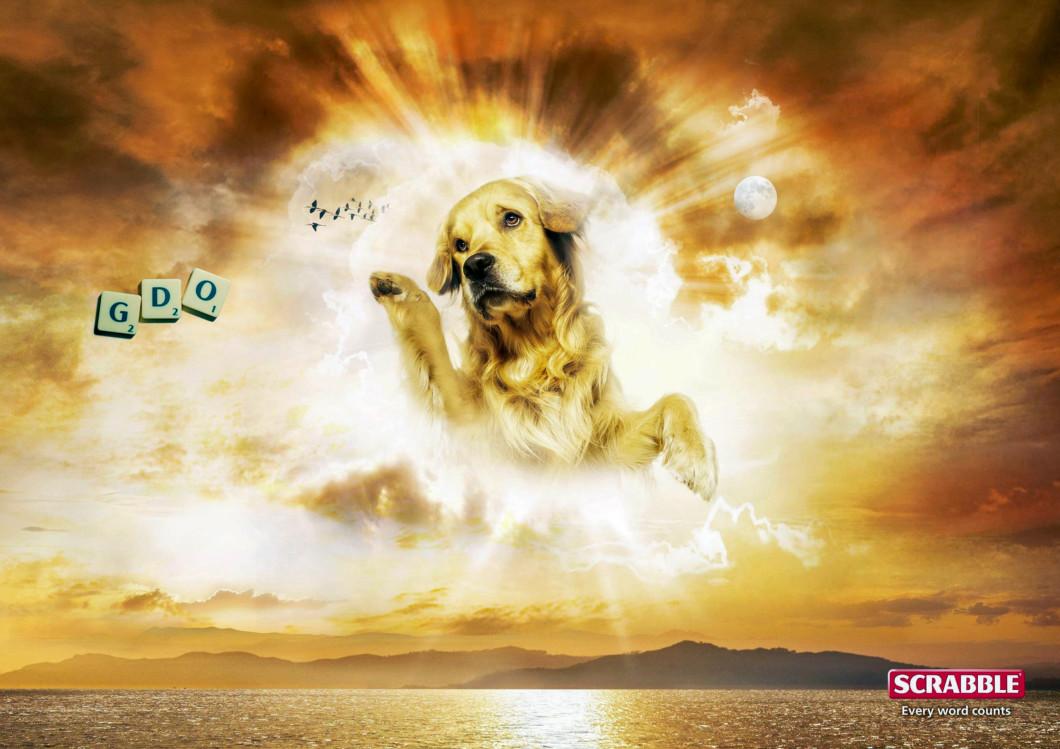 "2008, Mattel, Scrabble, Ogilvy, Hungary — ""Dog-God"""