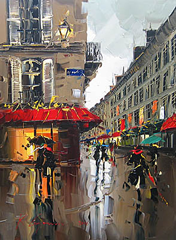 Slick streets and red umbrellas