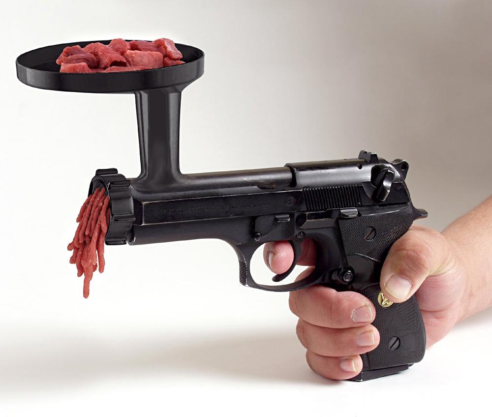 Meat grinder gun.