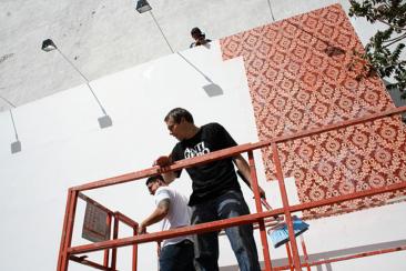 Shepard Fairey Gets Started On Houston Street Mural