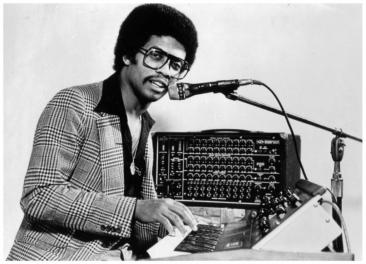 Herbie Hancock at a Moog