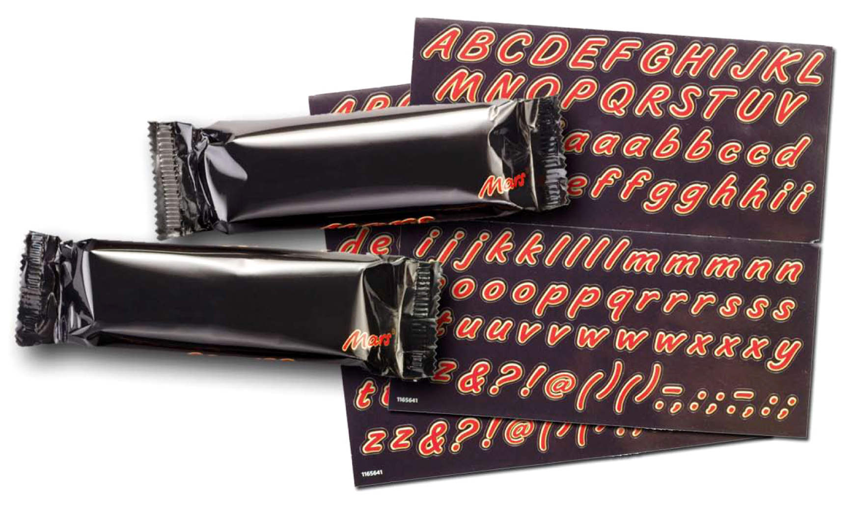Blank packaging with Mars Bar typeface stickers