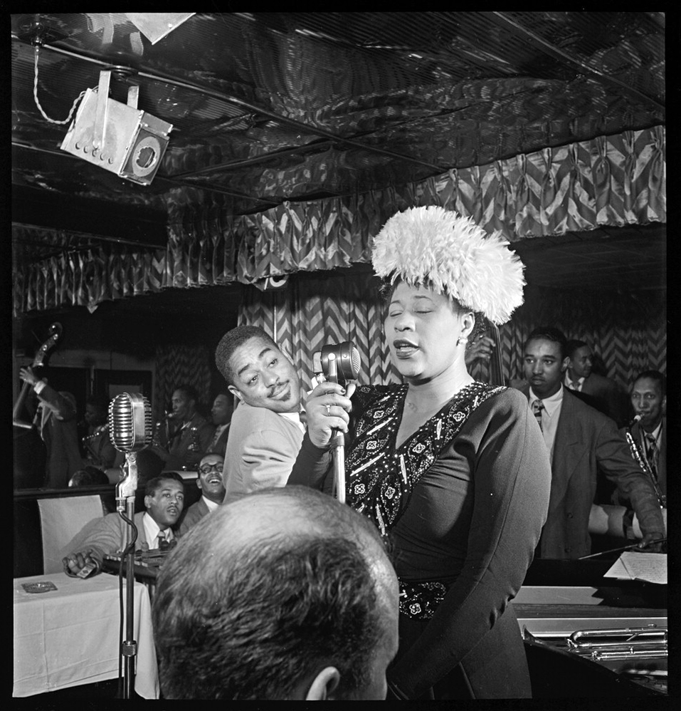 Portrait of Ella Fitzgerald, Dizzy Gillespie, Ray Brown, Milt (Milton) Jackson, and Timmie Rosenkrantz, Downbeat, New York, N.Y., ca. Sept. 1947