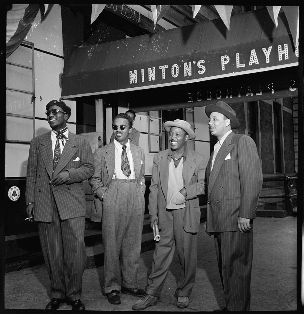 Portrait of Thelonious Monk, Howard McGhee, Roy Eldridge, and Teddy Hill, Minton's Playhouse, New York, N.Y., ca. Sept. 1947