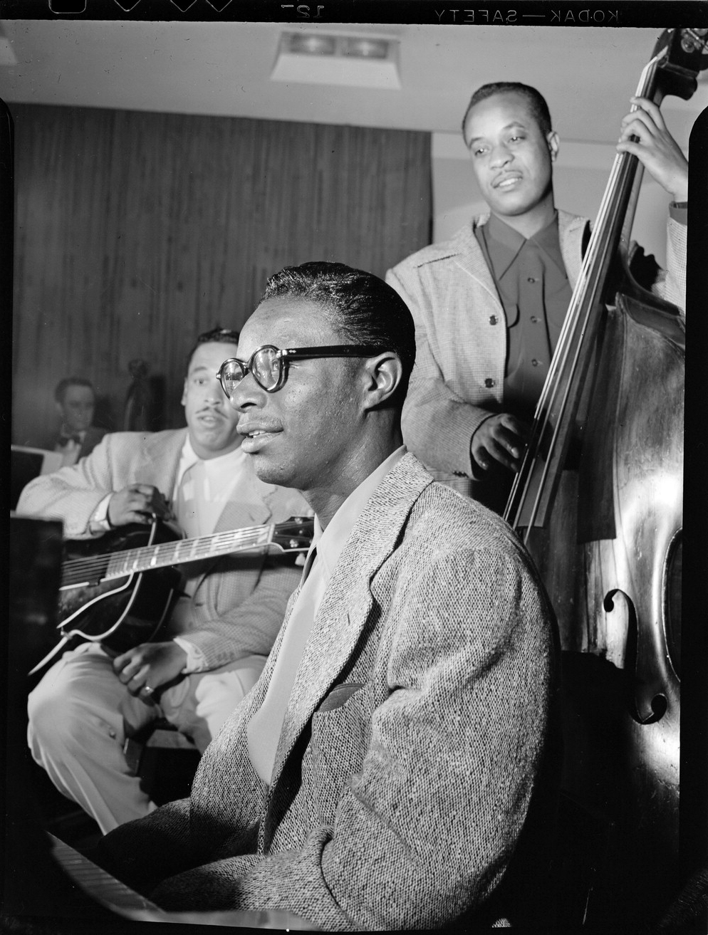 Portrait of Oscar Moore, Nat King Cole, and Wesley Prince, New York, N.Y., ca. July 1946