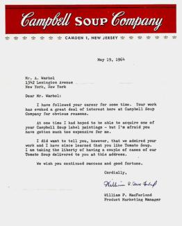 Dear Mr Warhol, I hear you like tomato soup…