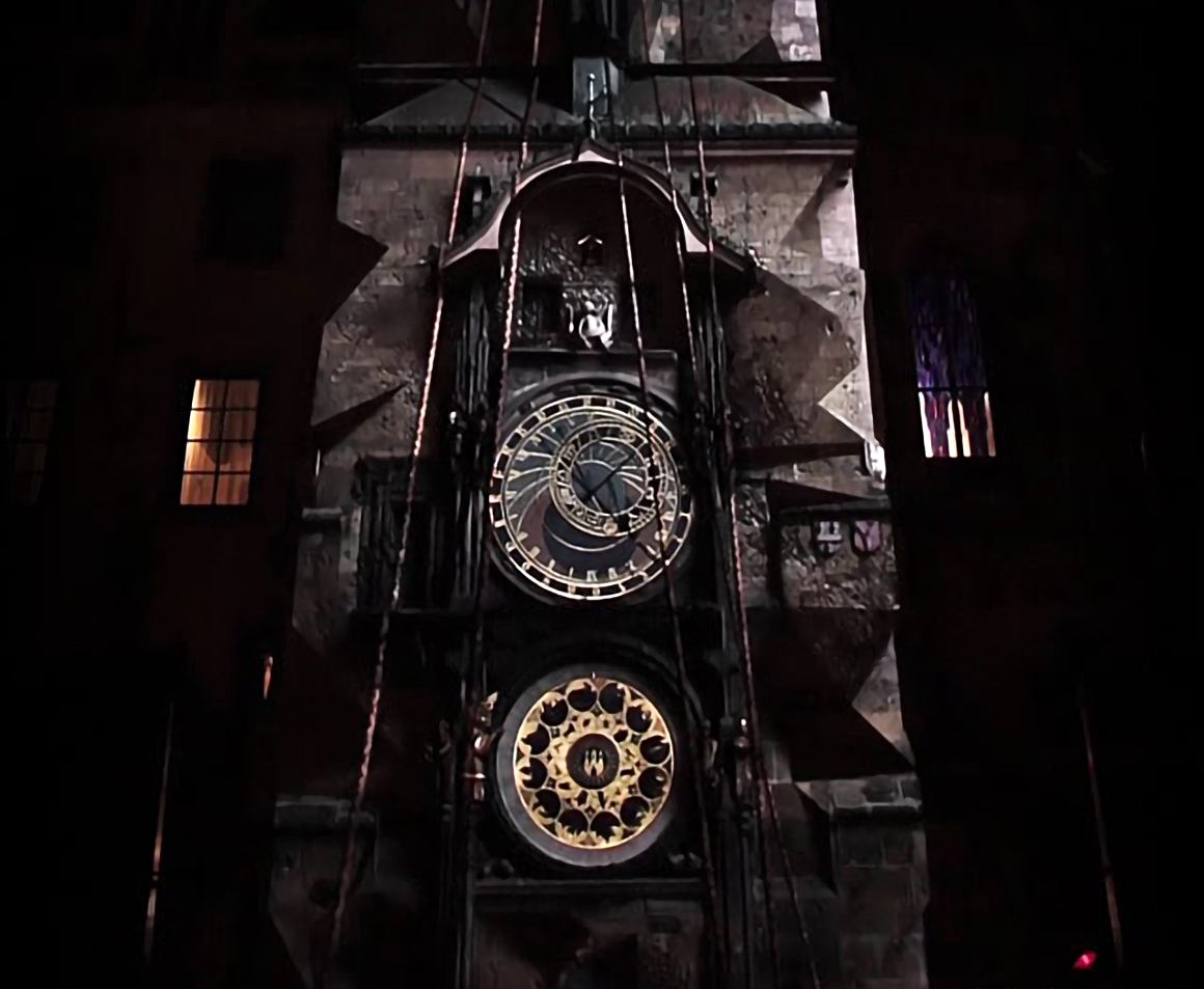 Prague Tower Clock Mapping Projection