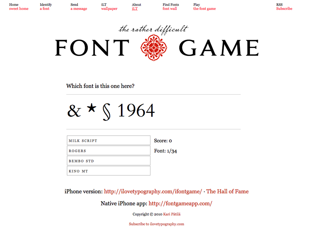 For the typographers out there — 'The rather difficult Font Game'