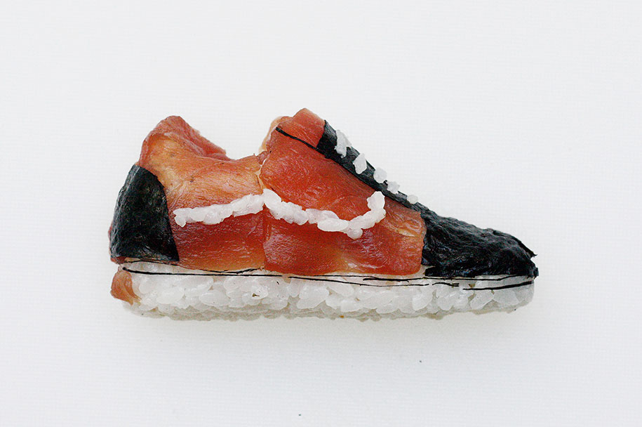Milan-based chef and artist Yujia Hu makes sushi sneakers to order.