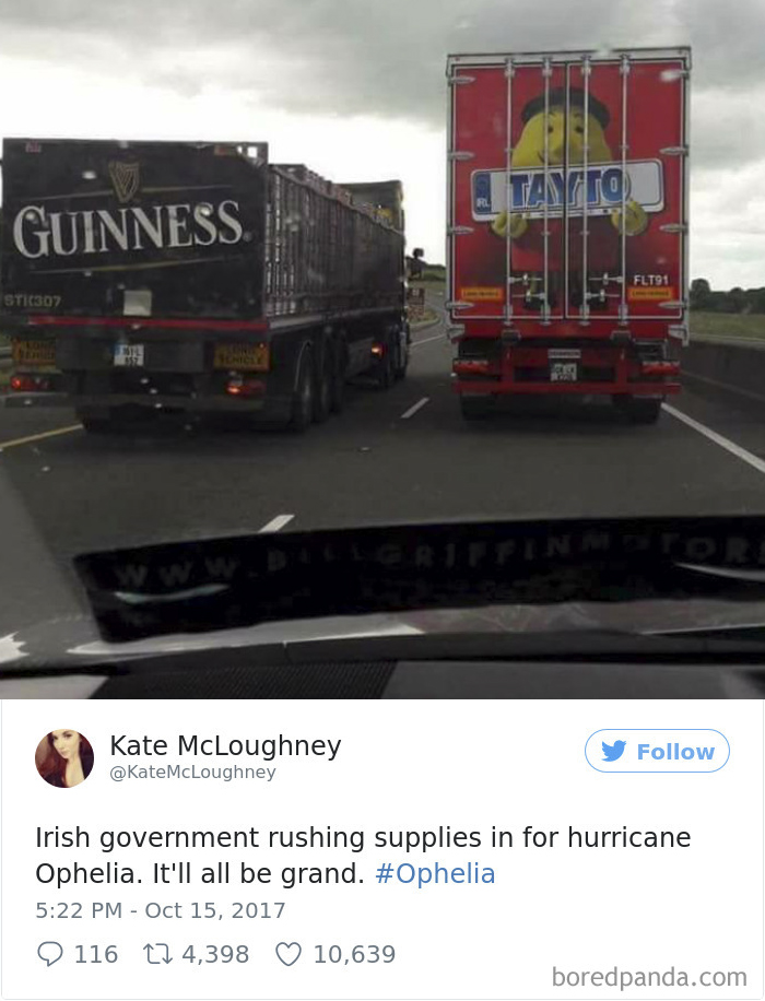 Top 10 Twitter Reactions To Hurricane Ophelia By Irish People