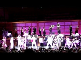 David Byrne & The Extra Action Marching Band in 2008 and the Rockettes 2009.