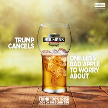 """Bulmers Irish Punk On Trump's Cancelled Ireland Visit """"One Less Bad Apple To Worry About"""""""