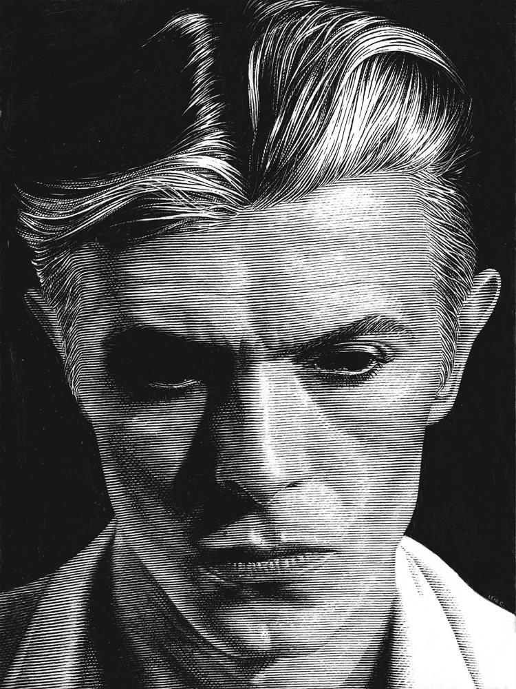 Leib Chigrin – Scratchboard Art – David Bowie