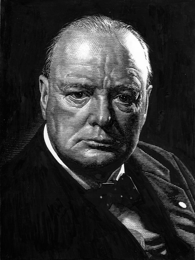 Leib Chigrin – Scratchboard Art – Winston Churchill