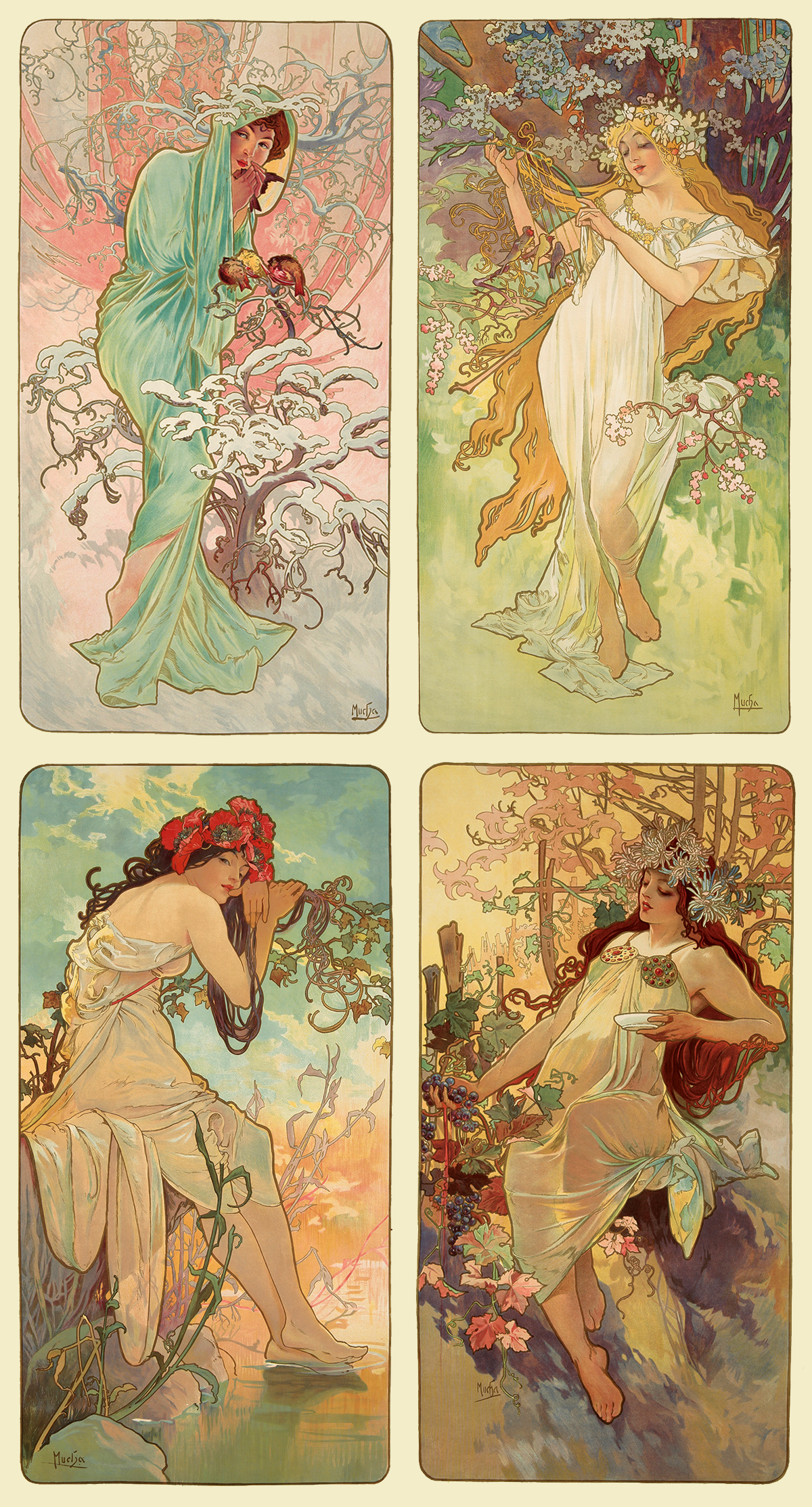 The Seasons By Alfons Mucha 1896 All four together.