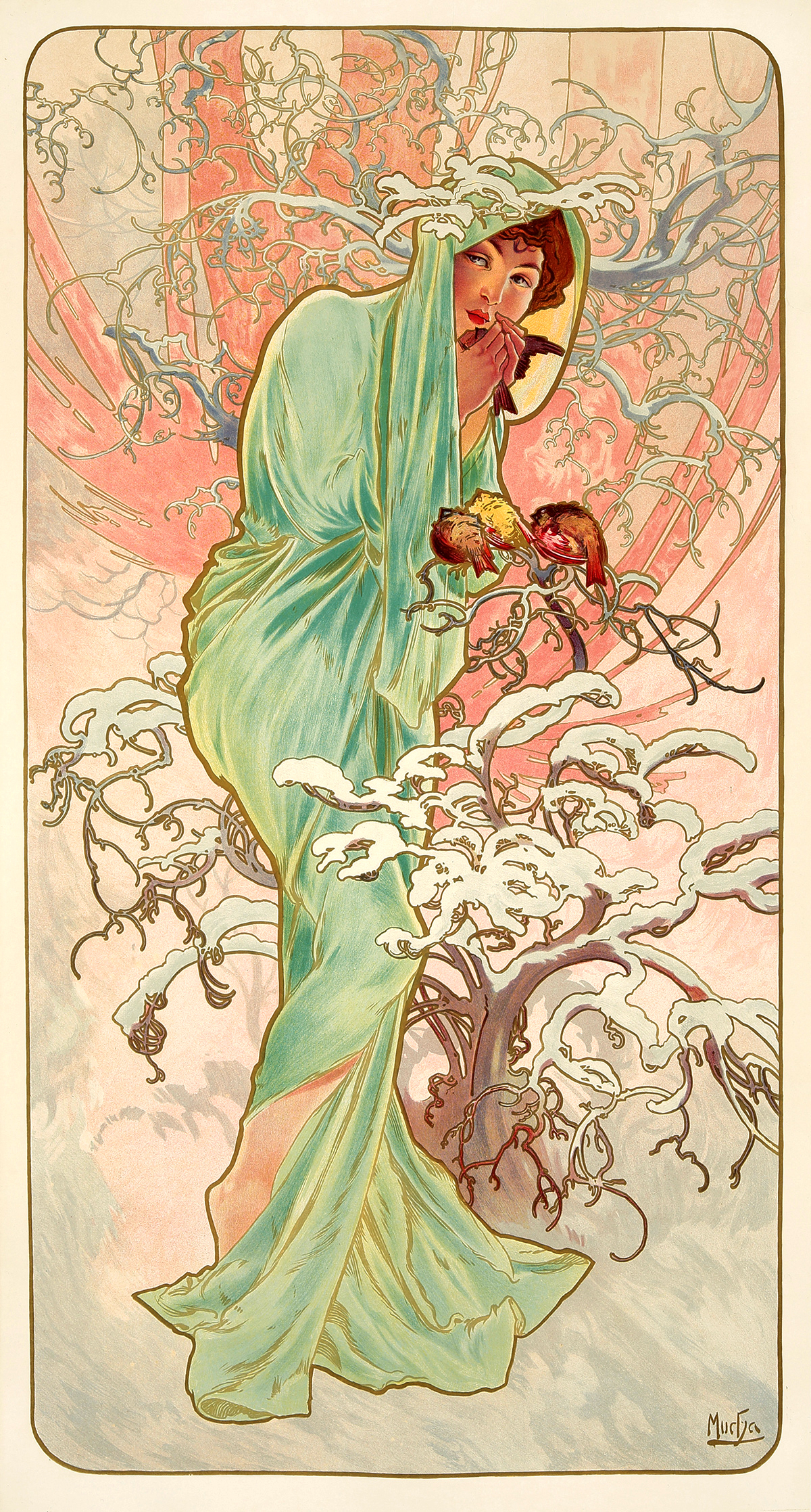 The Seasons - Winter - By Alfons Mucha 1896