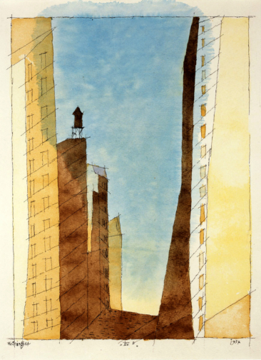 IV B (Manhattan) 1937. Ink and Watercolor painting.