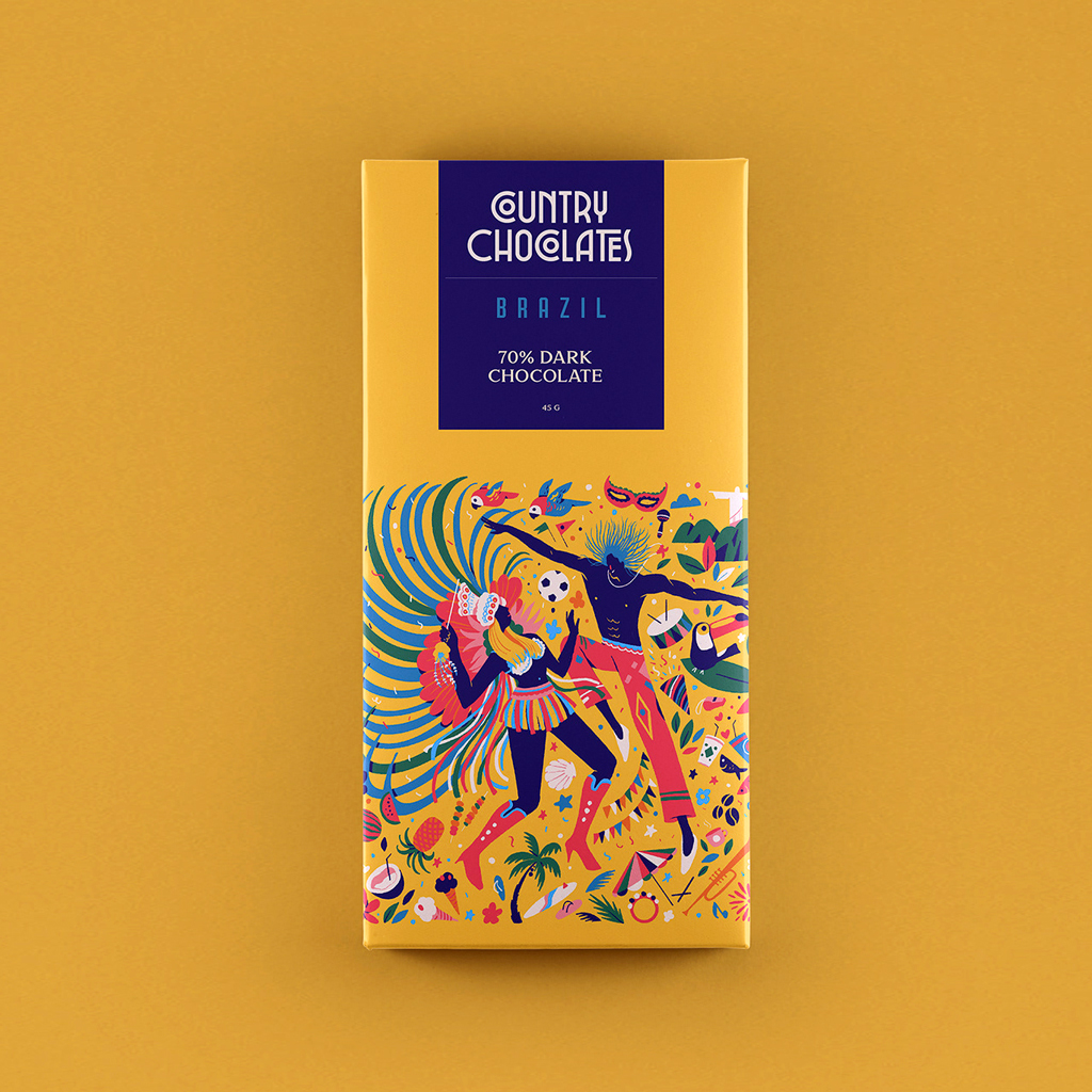 Colorful Country Coded Chocolate Bars by Muhammed Sajid—Brasil