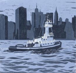 Brooklyn Tugboat Linocut