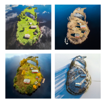 One of four photographs of Kotisaari Island taken by drone in each season.