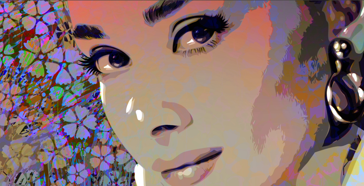 Dancing with Audrey Hepburn. Illustration explorations.