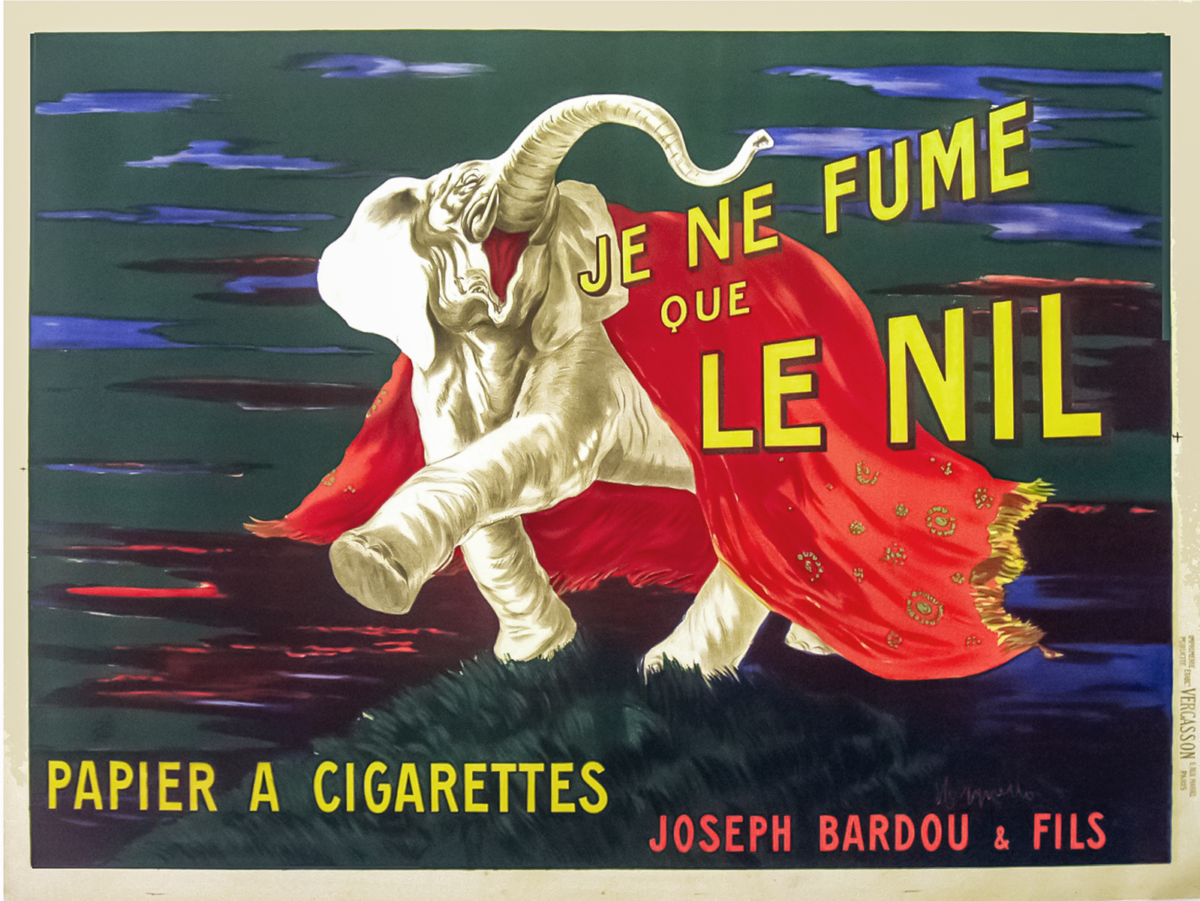 Poster of a large circus like elephant advertising rolling papers