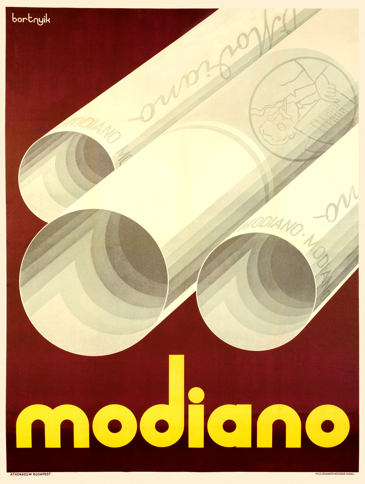 Modiano Cigarette Poster #1 by Sándor Bortnyik #1