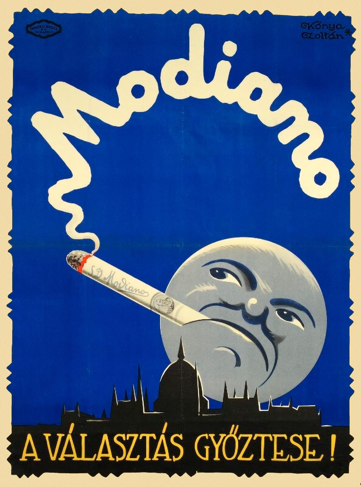 Modiano Cigarette Poster by Zoltán Kónya 1928