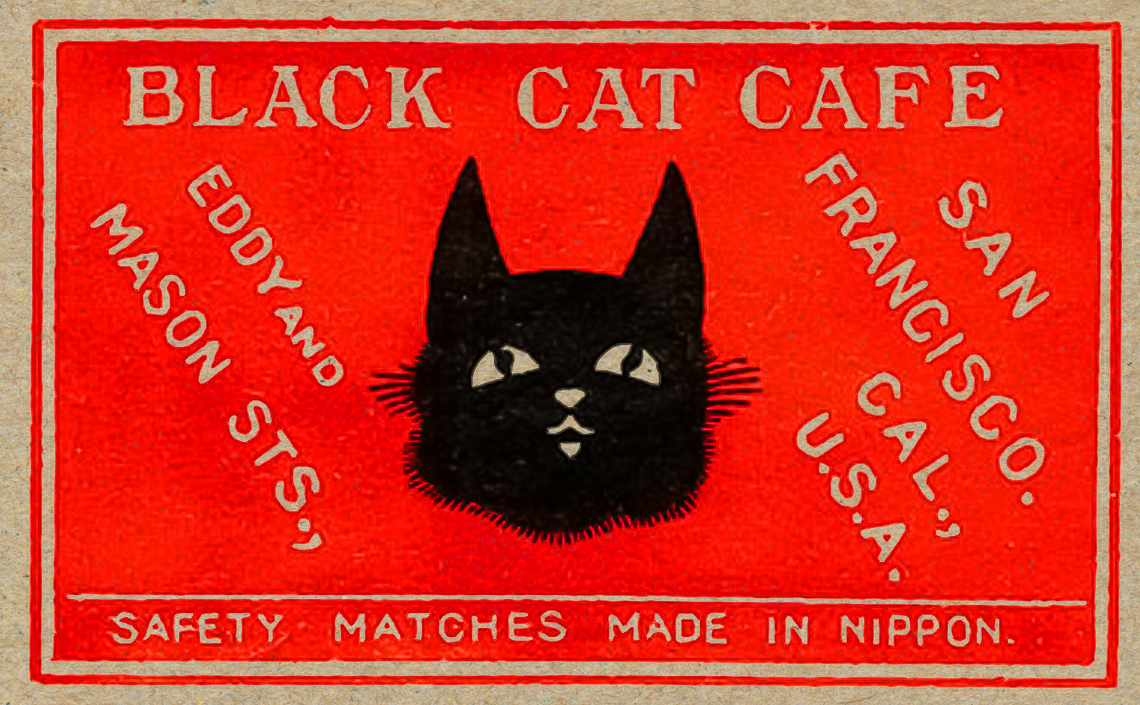 A vintage Matchbox Label for Black Cat Cafe at Eddy and Mason streets in San Francisco