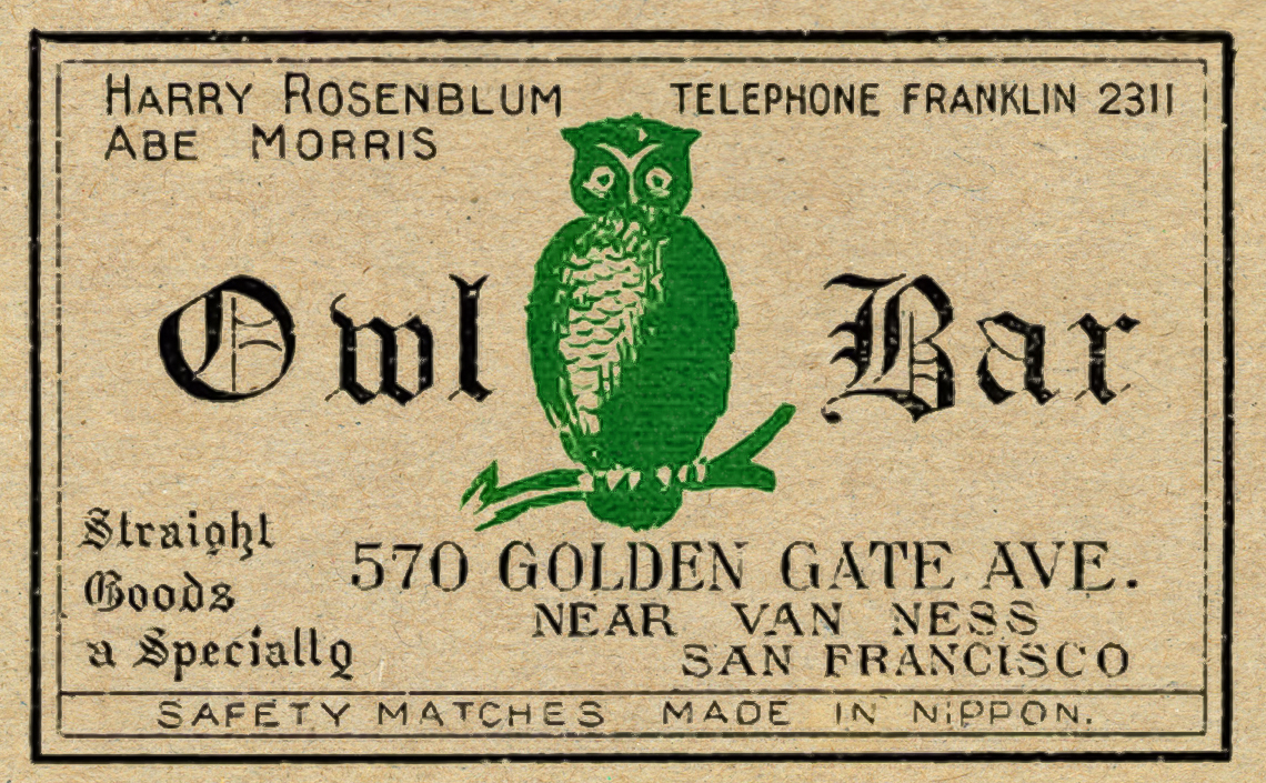 A vintage Matchbox Label for Owl Bar on Golden Gate near Van Ness St in San Francisco