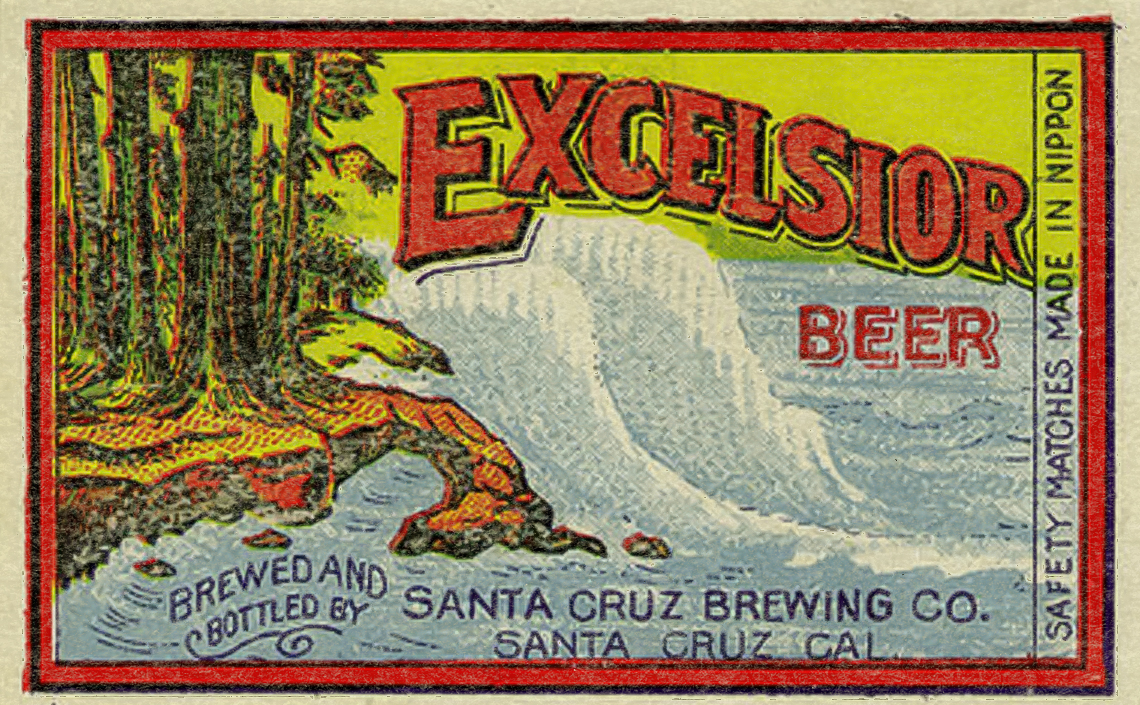 A vintage Matchbox Label for Excelsior Beer made by The Santa Cruz Brewing Company