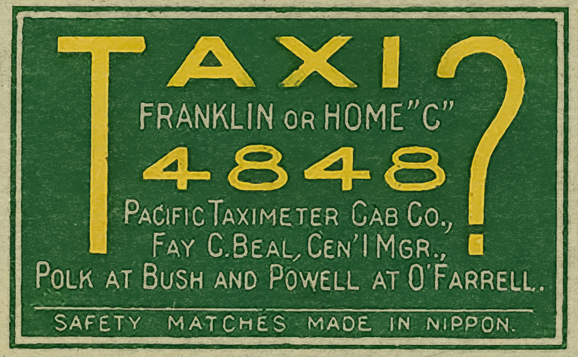 A vintage Matchbox Label for a Taxi service at Polk and Bush Streets in San Francisco.