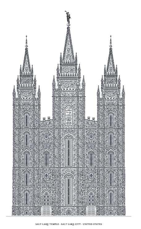 Beautiful Letterpress Poster — Salt Lake Temple