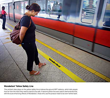 Wonderbra: stand behind the yellow line